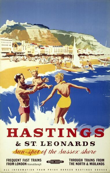 Hastings 3 Railway Old Advert Poster East Sussex Photo Family Holiday Beach